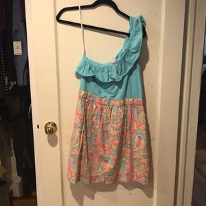 Lilly Pulitzer Blue/peach one shoulder with pocket